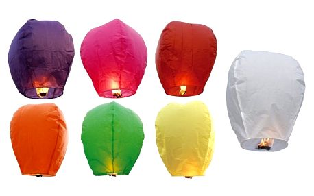 Lampión štěstí - 10 ks mix barev - čepice