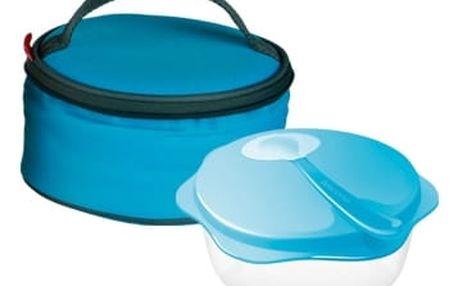 Cestovní miska se lžičkou BAMBINI, v termobrašně, světle modrá
