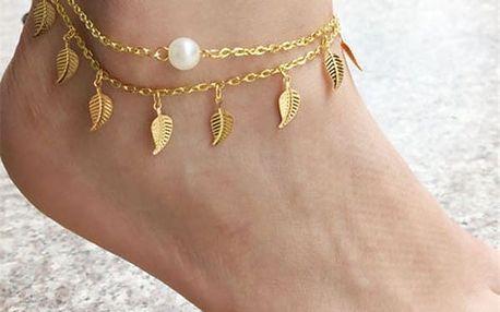 Dámský řetízek na nohu zdobený listy