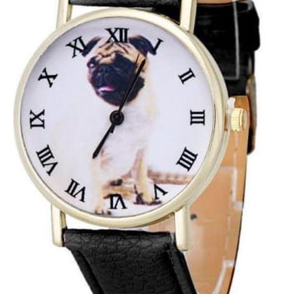 Dámské hodinky s mopsem na ciferníku - 4 barvy