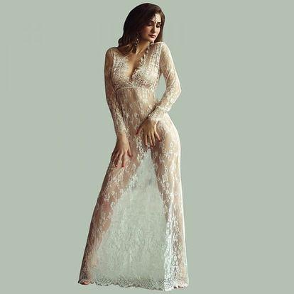 Sexy průsvitné šaty s krajkou - 9 barev