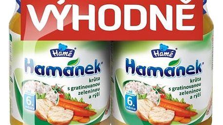 Expirace 11.08.17: HAMÁNEK Krůta s gratinovanou zeleninou a rýží (2x190 g) - maso-zeleninový příkrm