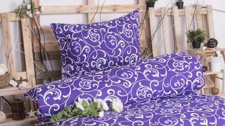 XPOSE ® Bavlněné povlečení na dvě lůžka ELIZABETH - fialová 140x200, 70x90