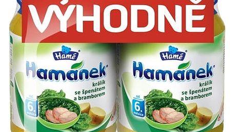 Expirace 12.08.17: HAMÁNEK Králík se špenátem a bramborem (2x190 g) - maso-zeleninový příkrm
