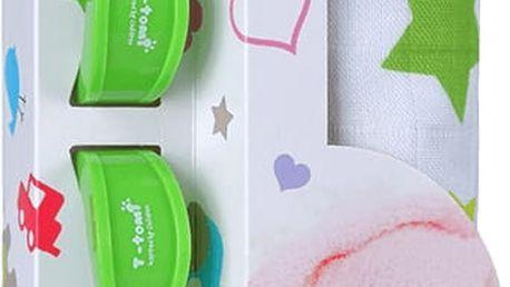 T-TOMI Baby set - bambusová osuška + kočárkový kolíček, zelená/hvězdičky