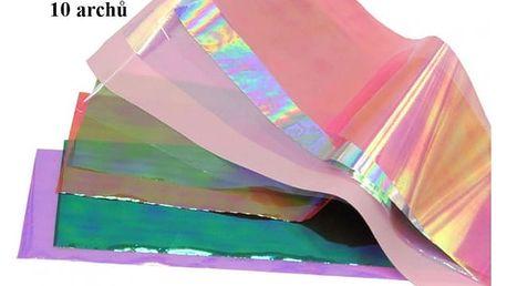 Ozdobné fólie k blyštivé dekoraci nehtů v různých sadách