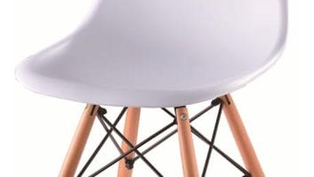 Židle, bílá + buk, PC-015, CINKLA