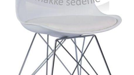 Židle, bílá + chrom, METAL