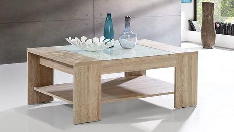 Brandy - Konferenční stolek (dub sonoma/bílé sklo)