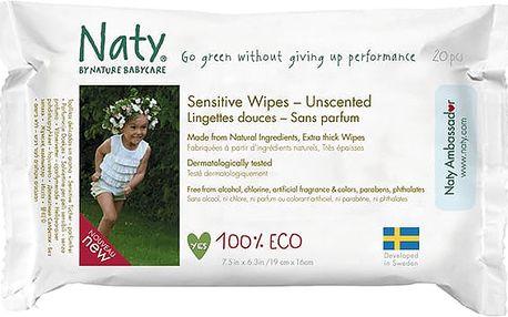 NATY NATURE BABYCARE ECO Sensitive 20 ks, cestovní neparfemované - vlhčené ubrousky