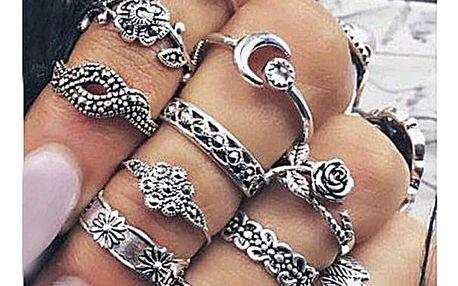 Sada romantických vintage prstýnků 11 ks