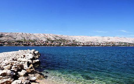 Letní Chorvatsko, ostrov Pag na týden s plnou penzí hned u pláže