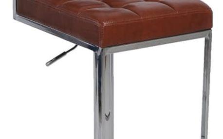 Barová židle, ekokůže hnědá / chrom, GORDY