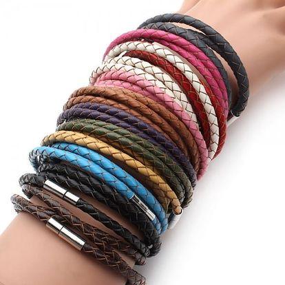 Pánský koženkový pletený náramek ve více barvách