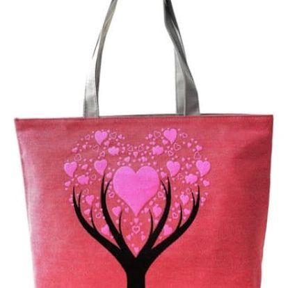 Dámská kabelka se stromem a srdíčky