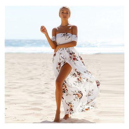 Bohémské šaty s volnými rameny a rozparkem - 2 barvy
