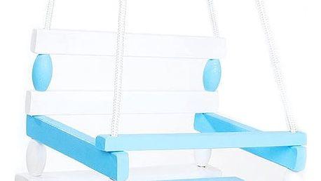 TEDDIES Houpačka dřevěná bílo modrá 38 x 30 cm