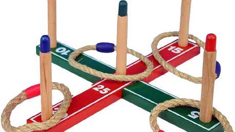 TEDDIES Házecí hra kříž s kruhy, dřevěná