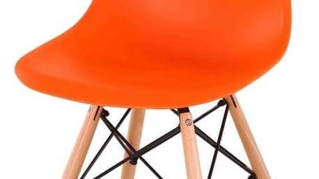 Židle, oranžová + buk, CINKLA NEW
