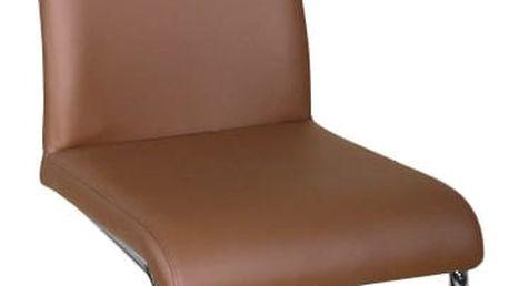 Jídelní židle, ekokůže hnědá/chrom, BETINA