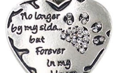 Řetízek s přívěskem ve tvaru srdce a tlapkou z kamínků