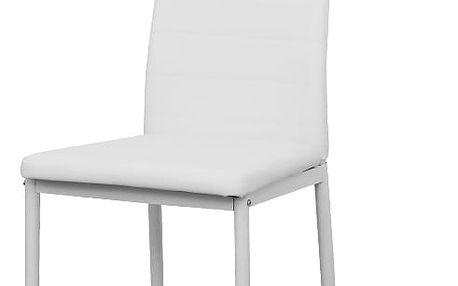 Jídelní židle COLETA, ekokůže bílá/kov bílá
