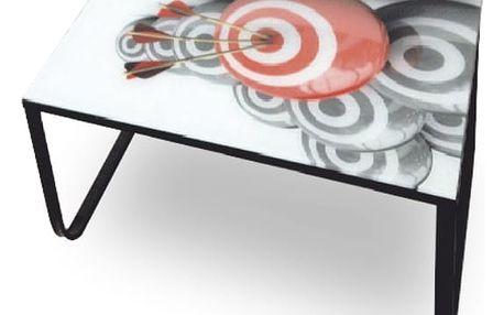 Konferenční stolek BALY, ocel / sklo / motiv