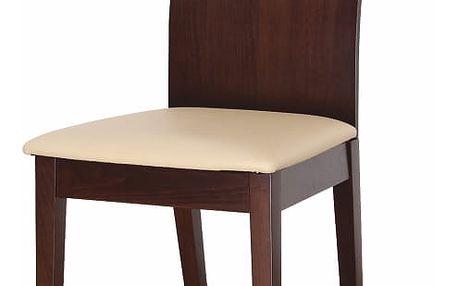 Dřevéná židle ABRIL, ořech/ekokůže béžová