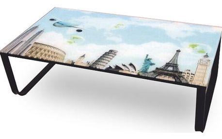 Konferenční stolek MIKRA LCT253, ocel / sklo / motiv