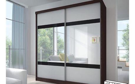 Dvoudveřová skříň s posuvnými dveřmi MULTI 2, 233x218, dub cambridge/bílá/černé sklo/zrcadlo