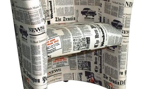 Křeslo D-8 CUBA, látka vzor noviny