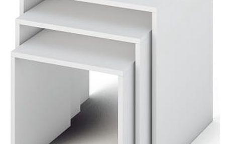 Příruční stolek, DTD laminovaná / ABS hrany, bílá, SIPANI