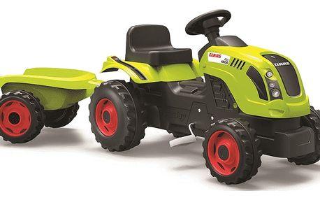 SMOBY Šlapací traktor CLAAS zelený s vozíkem