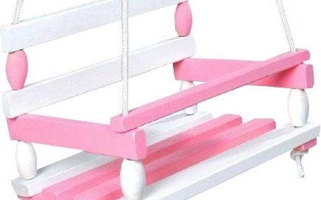 TEDDIES Houpačka dřevěná bílo růžová 38 x 30 cm