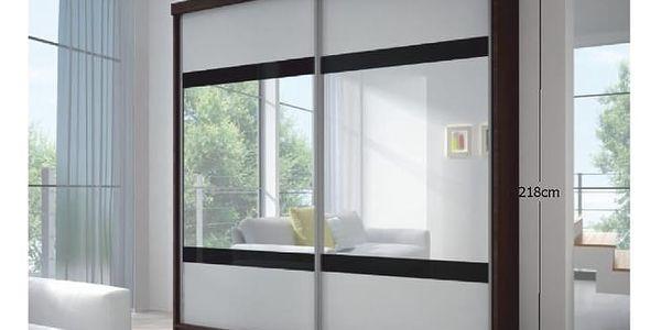 Dvoudveřová skříň s posuvnými dveřmi MULTI 2, 233x218, dub cambridge/bílá/černé sklo/zrcadlo2