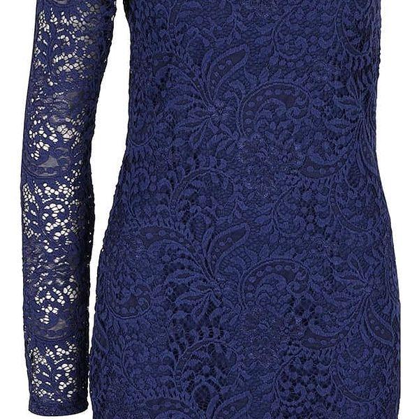 Tmavě modré krajkové šaty s odhaleným ramenem VERO MODA Celeb