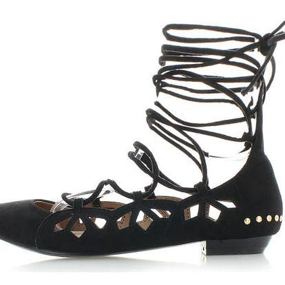 Černé balerínky Spring Laces