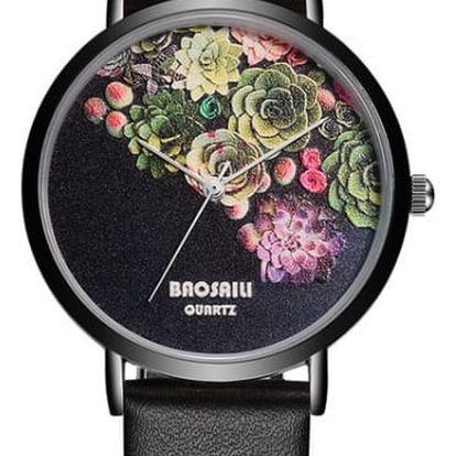 Dámské hodinky s květinovým ciferníkem