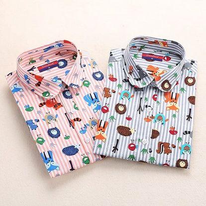 Dámská pestrá košile - dlouhý rukáv