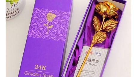 Dekorativní dárková růže ve zlaté barvě