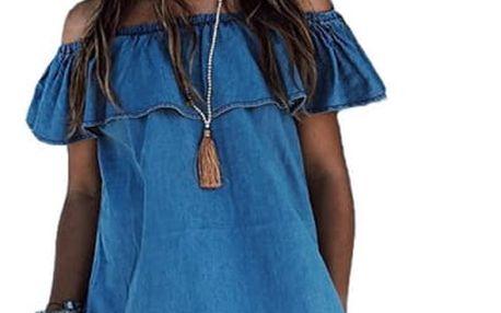 Džínové šaty s volánem - různé velikosti