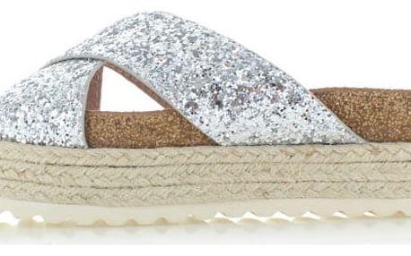 Dámské stříbrné platformové pantofle Refresh 63326