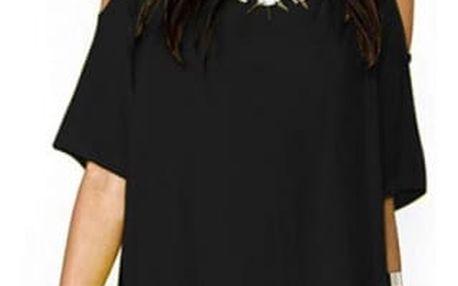 Volnější mini šaty s otvorem v rukávech - 4 barvy