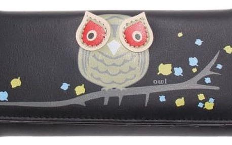 Dámská podlouhlá peněženka se sovičkou