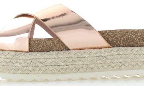 Dámské růžovo-zlaté platformové pantofle Refresh 63327