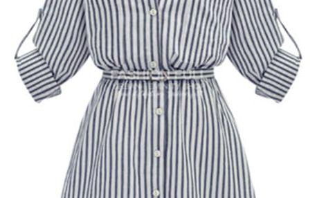 Košilové šaty s proužky - plus size velikosti