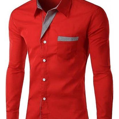 Pánská košile s dlouhým rukávem a černobílým lemováním - 14 barev
