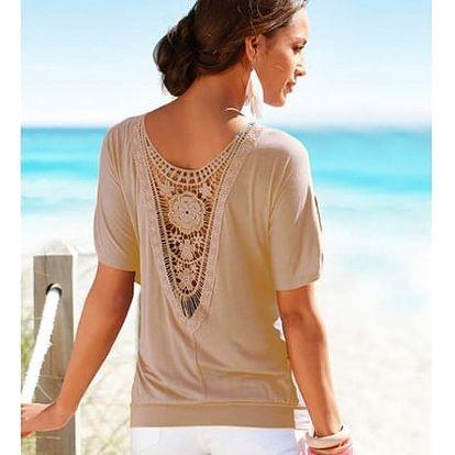 Ležérní triko s úchvatnou krajkou na zádech - více barev - nadměrné velikosti