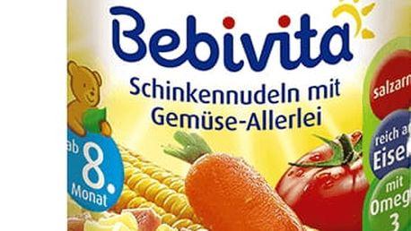 6x BEBIVITA Těstoviny se šunkou a zeleninovou směsí (220g) - masozeleninový příkrm