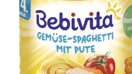 6x BEBIVITA Zelenina - špagety s krůtím masem (190g) - masozeleninový příkrm
